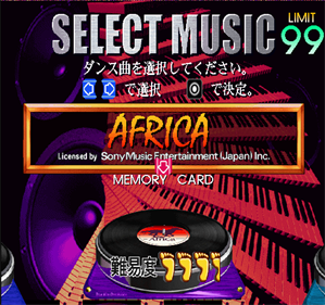 Dancing Stage featuring True Kiss Destination  - Screenshot - Game Select