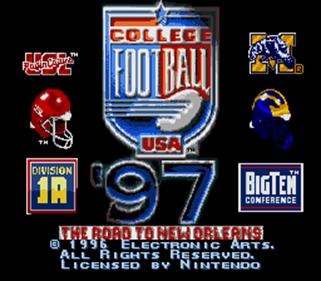 College Football USA 97 - Screenshot - Game Title