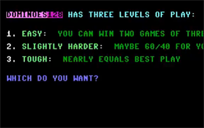 Dominoes 128 - Screenshot - Game Select