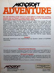 Microsoft Adventure - Box - Back