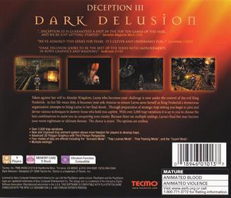 Deception III: Dark Delusion - Box - Back