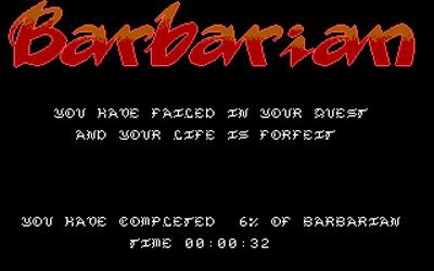 Barbarian - Screenshot - Game Over