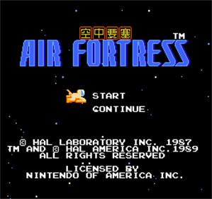 Air Fortress - Screenshot - Game Title