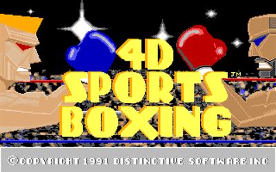 4D Sports Boxing - Screenshot - Game Title