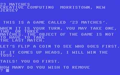 23 Matches (Creative Computing) - Screenshot - Gameplay