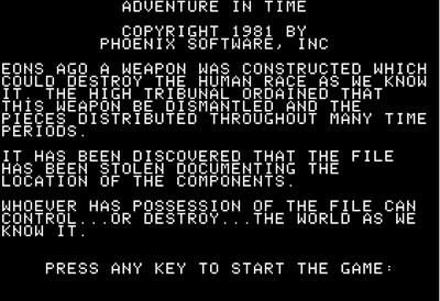 Adventure in Time - Screenshot - Game Title