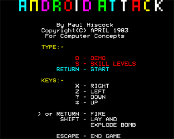 Android Attack - Screenshot - Game Title