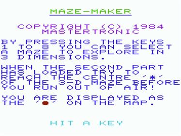 3D Maze (Mastertronic) - Screenshot - Game Title