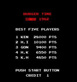 Burger Time - Screenshot - Game Title