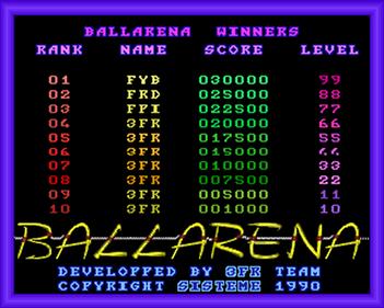 Ballarena - Screenshot - High Scores