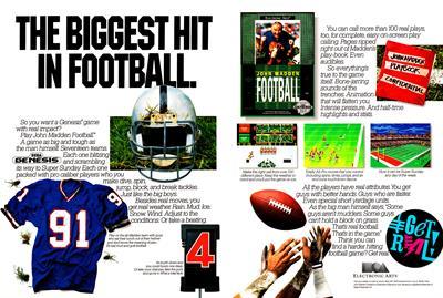 John Madden Football - Advertisement Flyer - Front