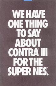 Contra III: The Alien Wars - Advertisement Flyer - Front