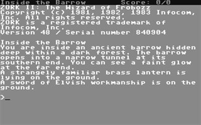 Zork II: The Wizard of Frobozz - Screenshot - Gameplay