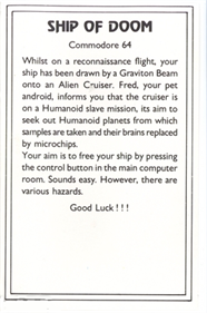 Adventure C: Ship of Doom - Box - Back