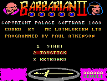 Barbarian II: The Dungeon Of Drax - Screenshot - Game Title