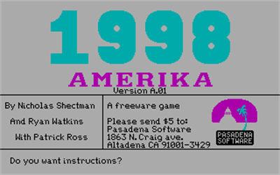 1998 Amerika - Screenshot - Game Title