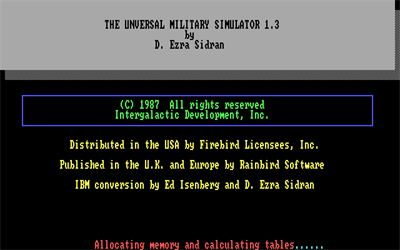 UMS: The Universal Military Simulator - Screenshot - Game Title
