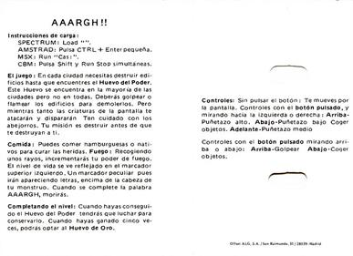 AAARGH! - Arcade - Controls Information