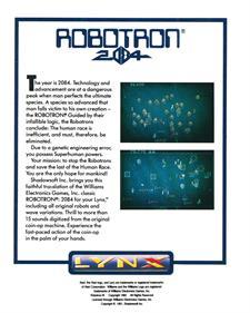 Robotron: 2084 - Box - Back