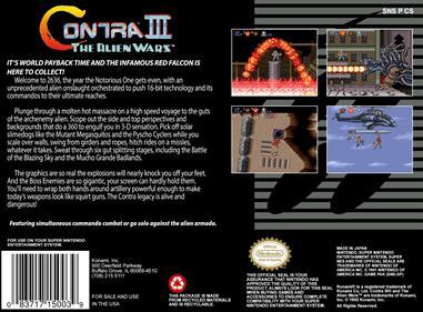 Contra III: The Alien Wars - Box - Back