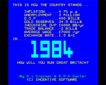 1984: A Game of Government Management - Screenshot - Game Title