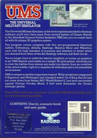 UMS: The Universal Military Simulator - Box - Back