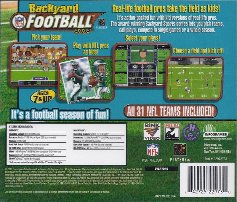 ... Backyard Football 2002   Box   Back ...