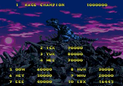 Primal Rage - Screenshot - High Scores