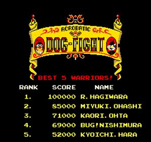 Acrobatic Dog-Fight - Screenshot - High Scores