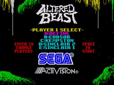 Altered Beast - Screenshot - Game Select
