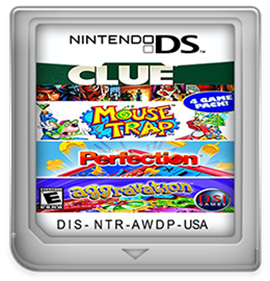 4 Game Pack!: Clue + Aggravation + Perfection + Mouse Trap - Fanart - Cart - Front