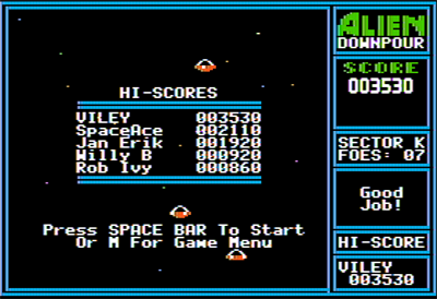 Alien Downpour - Screenshot - High Scores