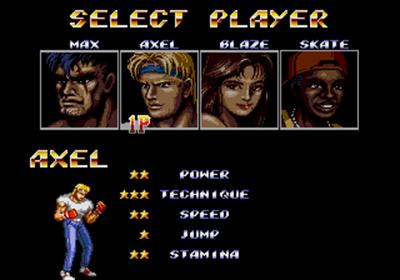 Streets of Rage 2 - Screenshot - Game Select