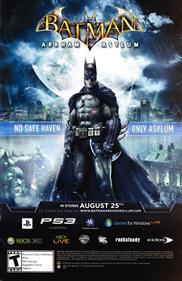Batman: Arkham Asylum - Advertisement Flyer - Front