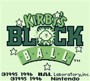 Kirby's Block Ball - Screenshot - Game Title