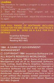 1984: A Game of Government Management - Box - Back
