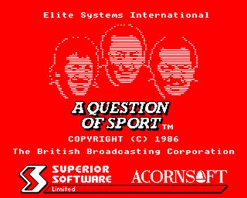 A Question of Sport - Screenshot - Game Title
