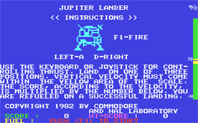 Jupiter Lander (Commodore) - Screenshot - Game Title