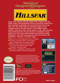 Advanced Dungeons & Dragons: Hillsfar - Box - Back