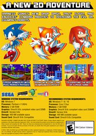 Sonic Mania - Fanart - Box - Back