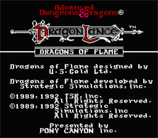 Advanced Dungeons & Dragons: Dragons of Flame - Screenshot - Game Title