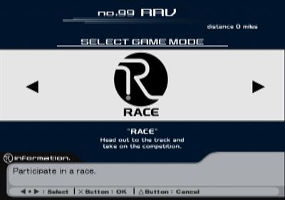 Ridge Racer V - Screenshot - Game Select