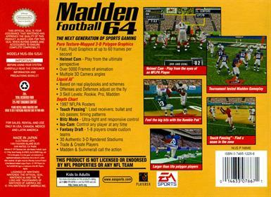 Madden Football 64 - Box - Back