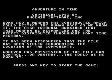 Adventure in Time - Screenshot - Game Title
