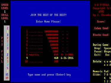 3-D Pitfall - Screenshot - High Scores