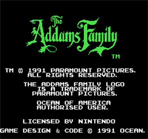 The Addams Family - Screenshot - Game Title