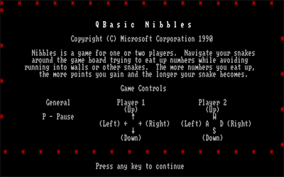 QBasic Nibbles - Screenshot - Game Title