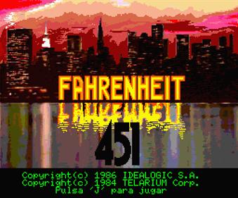 Fahrenheit 451 - Screenshot - Game Title