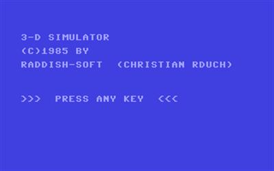 3-D Simulator - Screenshot - Game Title