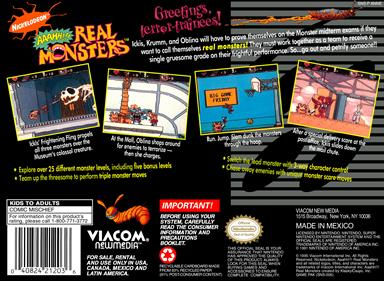AAAHH!!! Real Monsters - Box - Back